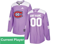 Mens Women Youth Nhl Montreal Canadiens Purple Fights Cancer Adidas Practice Jersey