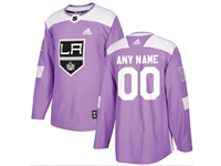 Mens Women Youth Nhl Los Angeles Kings (custom Made) Purple Fights Cancer Adidas Practice Jersey