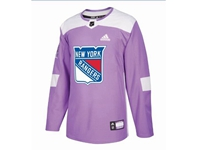 Mens Women Youth Nhl New York Rangers (custom Made) Purple Fights Cancer Adidas Practice Jersey