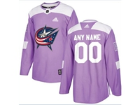 Mens Women Youth Nhl Columbus Blue Jackets (custom Made) Purple Fights Cancer Adidas Practice Jersey