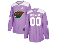 Mens Women Youth Nhl Minnesota Wild (custom Made) Purple Fights Cancer Adidas Practice Jersey