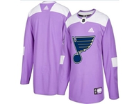 Mens Women Youth Nhl St.louis Blues (custom Made) Purple Fights Cancer Adidas Practice Jersey