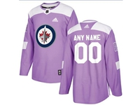 Mens Women Youth Nhl Winnipeg Jets (custom Made) Purple Fights Cancer Adidas Practice Jersey