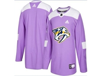 Mens Women Youth Nhl Nashville Predators (custom Made) Purple Fights Cancer Adidas Practice Jersey