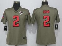 Women Nfl Atlanta Falcons #2 Matt Ryan Green Olive Salute To Service Elite Jersey
