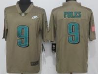 Mens Nfl Philadelphia Eagles #9 Nick Foles Green Olive Salute To Service Limited Nike Jersey