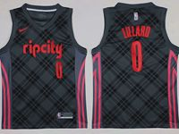 Mens Nba Portland Trail Blazers #0 Damian Lillard Dark Gray City Nike Jersey
