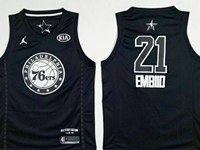 New Mens Nba Philadelphia 76ers #21 Joel Embiid 2018 All Star Black Jersey