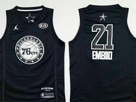 New Mens Nba Philadelphia 76ers #21 Joel Embiid 2018 All Star Black Jersey