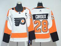 Women Nhl Philadelphia Flyers #28 Claude Giroux C Patch White Adidas Jersey