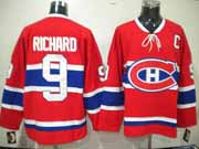 Mens nhl montreal canadiens #9 richard red (ch) with c patch throwbacks Jersey