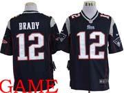 mens nfl New England Patriots #12 Tom Brady blue game jersey