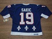 Mens Ccm Nhl Quebec Nordiques #19 Sakic Dark Blue Throwbacks Jersey