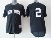 Mens Mlb New York Yankees #2 Jeter Black New Style (white Number) Jersey
