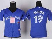 youth mlb Toronto Blue Jays #19 Jose Bautista blue 2012 new style jersey