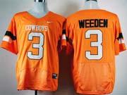 Mens Ncaa Nfl Oklahoma State Cowboys #3 Weeden Orange Jersey