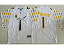 Mens Ncaa Nfl Oregon Ducks #1 Fan White Weebfoot 100th Rose Bowl Game Elite Jersey