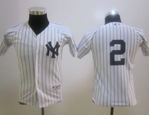 youth mlb new york yankees #2 jeter white (no name) Jersey