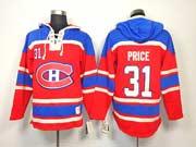 mens nhl Montreal Canadiens #31 Carey Price red hoodie jersey