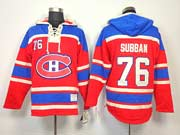 Mens nhl montreal canadiens #76 subban red hoodie Jersey