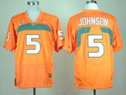 Mens Ncaa Nfl Miami Hurricanes #5 Johmson Orange Jersey Gz