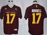 Mens Ncaa Nfl Mississippi State Bulldogs #17 Russell Dark Red Jersey Gz