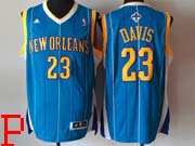 Mens Nba New Orleans Hornets #23 Davis Blue Stripe Revolution 30 Jersesy (p)