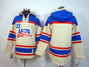 Mens nhl team usa blank cream color hoodie Jersey