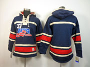 Mens nhl team usa blank dark blue hoodie Jersey