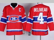 Mens nhl montreal canadiens #4 beliveau red (ch) with c patch throwbacks Jersey