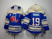 youth nhl quebec nordiques #19 sakic blue c patch hoodie Jersey