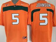 Mens Ncaa Nfl Miami Hurricanes #5 Johnson Orange Jersey