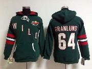 Women Nhl Minnesota Wild Custom Made Green Hoodie Jersey