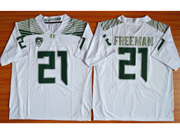 Mens Ncaa Nfl Oregon Ducks #21 Freeman White (green Number) Jersey