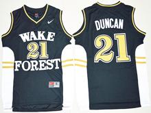 Mens Ncaa Nba Wake Forest Demon Deacons #21 Tim Duncan Black Jersey