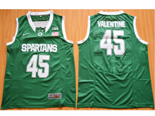 Mens Ncaa Nba Michigan State Spartans #45 Denzel Valentine Dark Green Jersey