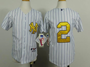 Youth Mlb New York Yankees #2 Jeter White Gold Number Jersey