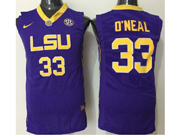 Mens Ncaa Nba Lsu Tigers #33 Shaquille O'neal Purple Jersey