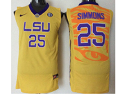 Mens Ncaa Nba Lsu Tigers #25 Ben Simmons Yellow Jersey