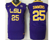 Mens Ncaa Nba Lsu Tigers #25 Ben Simmons Purple Jersey