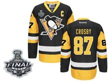 Mens Reebok Pittsburgh Penguins #87 Sidney Crosby Black 2016 Stanley Cup Final Premier Jersey