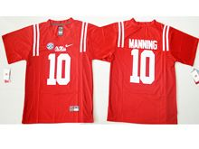 Mens Ncaa Nfl Ole Miss Rebels #10 Eli Manning Red College Alumni Jersey