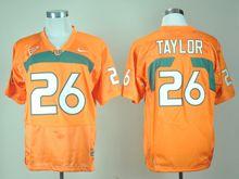 Mens Ncaa Nfl Miami Hurricanes #26 Sean Taylor Orange Jersey