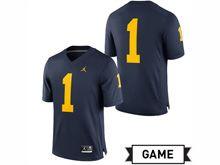 Mens Jordan University Of Michigan Football Navy #1 Game Jersey
