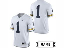 Mens Jordan University Of Michigan Football White #1 Game Jersey