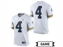 Mens Jordan University Of Michigan Football White #4 Game Jersey