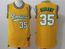Mens Nba Seattle Supersonics #35 Kevin Durant Yellow Throwbacks Jersey