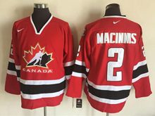 Mens Nhl Team Canada #2 Al Macinnis Red (2002 Olympics) Throwback Jersey