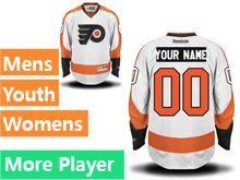 Mens Women Youth Reebok Philadelphia Flyers White Away Premier Current Player Jersey