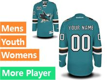 Mens Women Youth Reebok San Jose Sharks Green Home Premier Current Player Jersey
